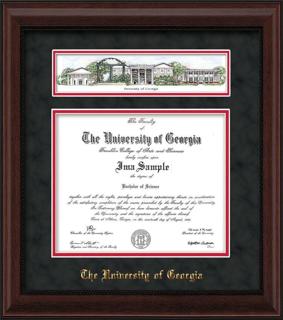 University of Georgia Diploma Frame - Mahogany Bead - w/Embossed ...