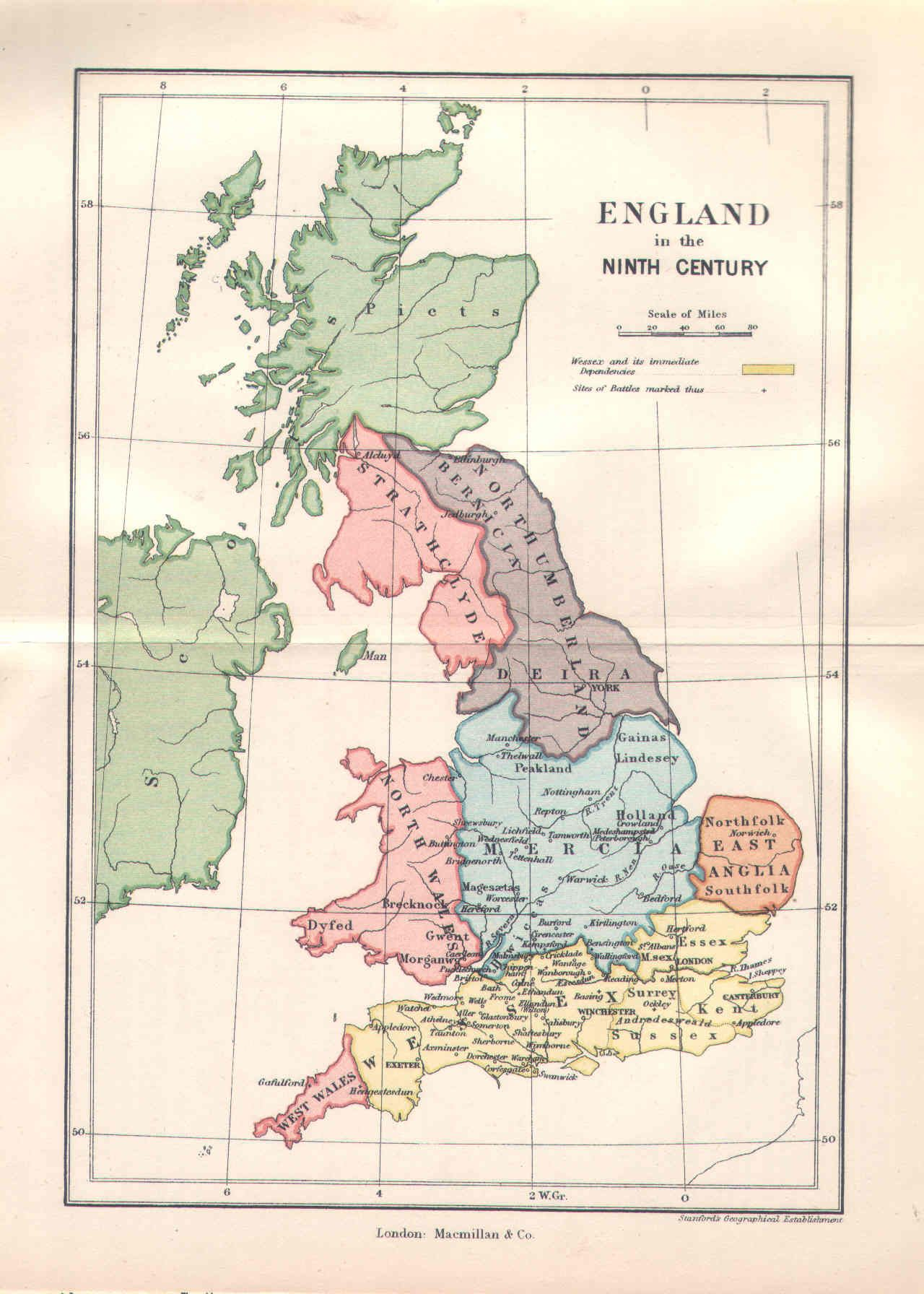 9th Century England Map Mid 9th Century England | England map, Historical maps, Map of britain
