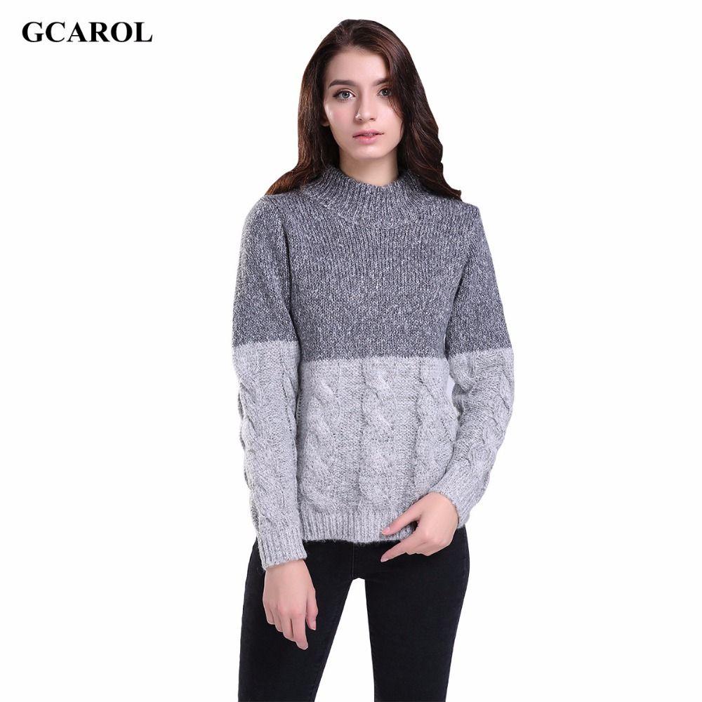 Donne New Coreano Torsione Maglione di lavoro a maglia di Colore di Contrasto Crop Disegno Maglione Pullover Primavera Autunno Inverno Ponticello
