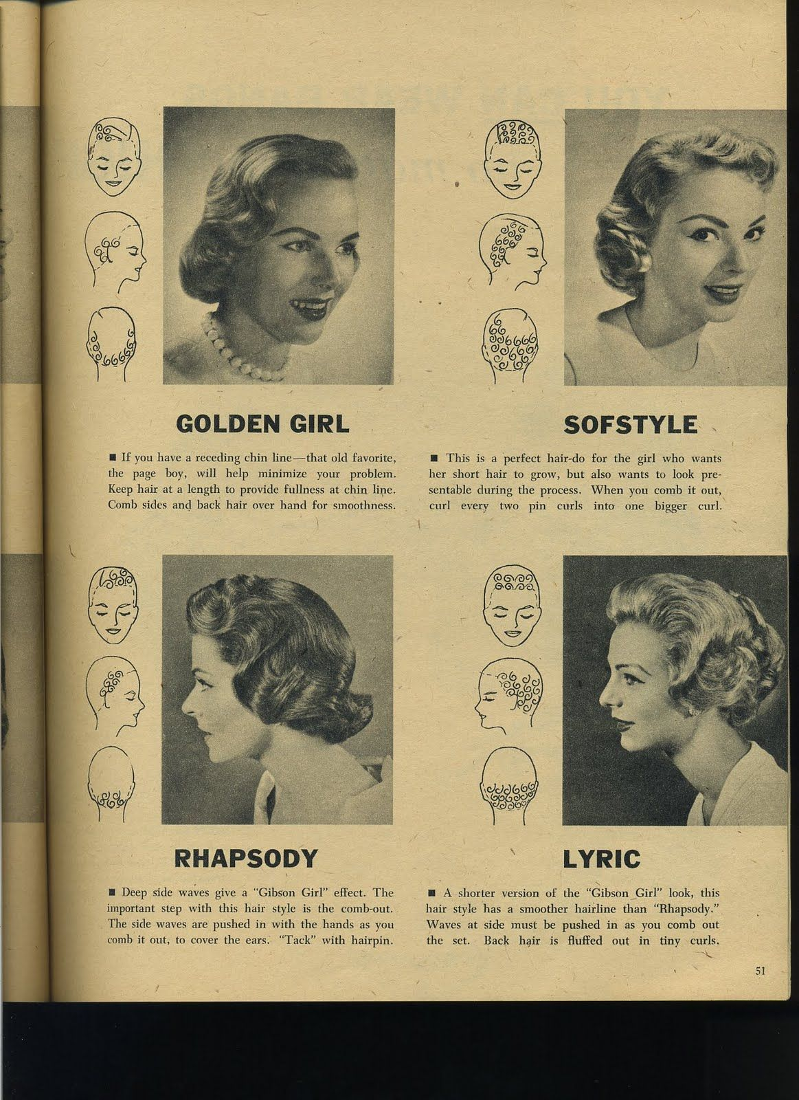 Vintage Pin Curls Diagram Humidifier Wiring Instructions For Four Lovely 1958 Sets Hair