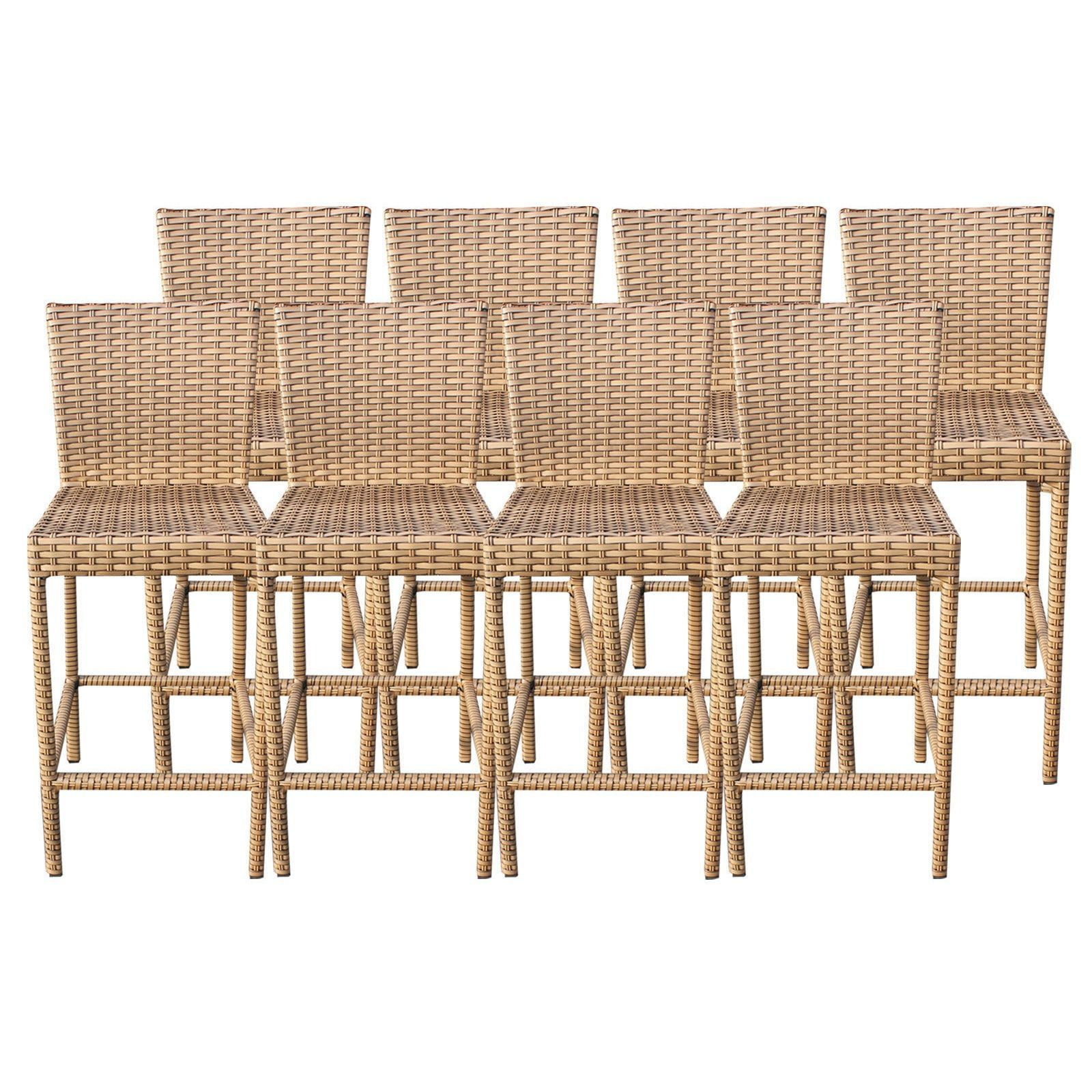 Bayou Outdoor Patio Wicker Barstools with Back