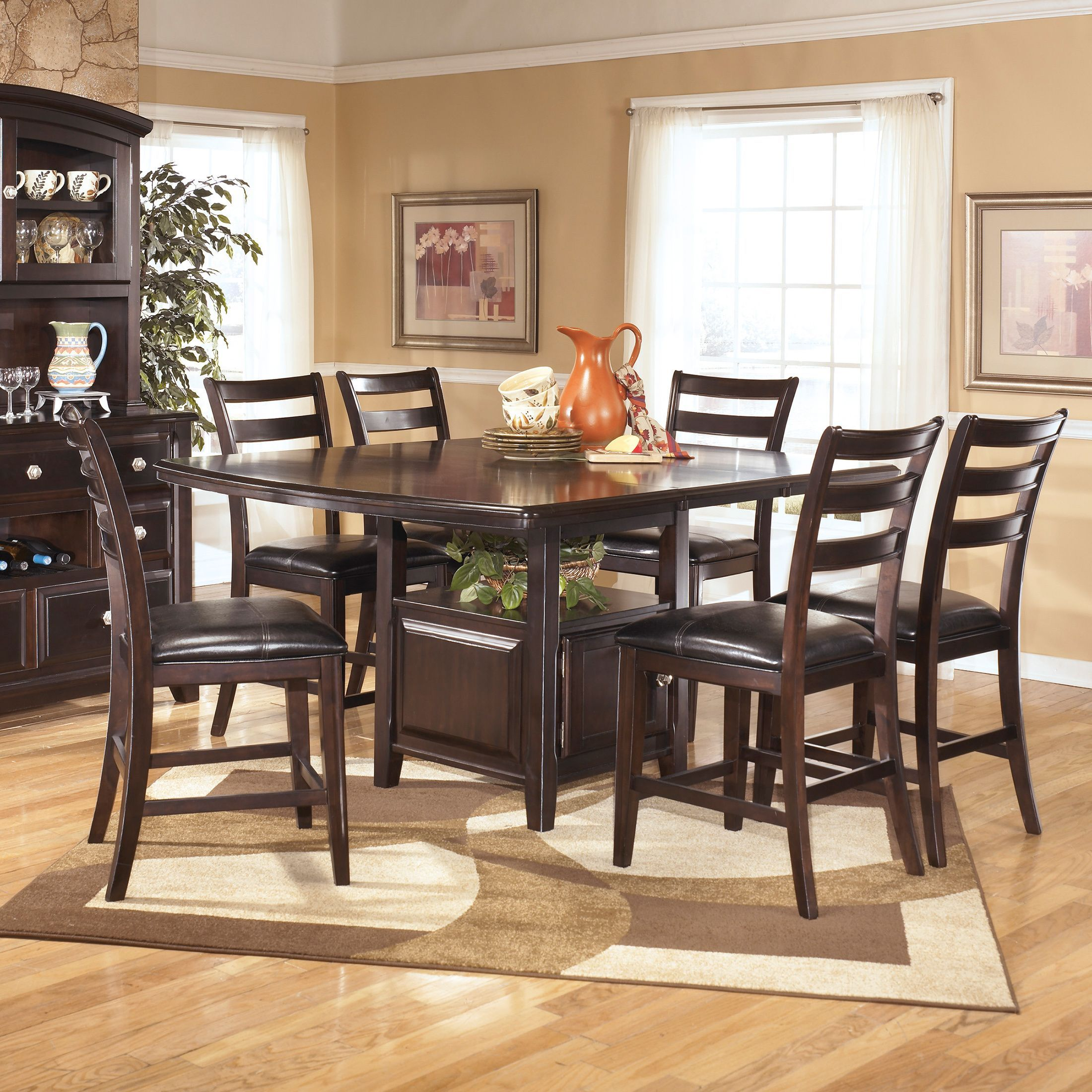 Contemporary style is beautifully showcased with this square counter signature design by ashley ridgley square dark brown dining room table overstock shopping great deals on signature design by ashley dining tables dzzzfo