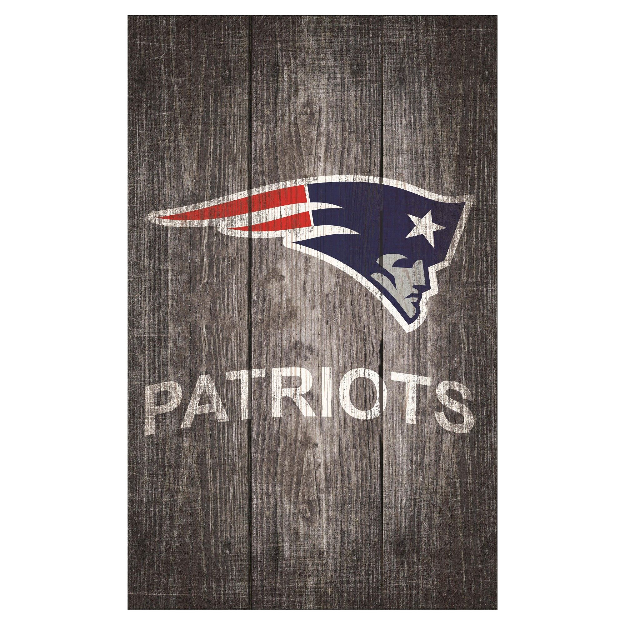 Nfl New England Patriots Fan Creations Distressed Wood Logo 11 X19 Sign Gray Nfl New England Patriots Patriots Fans How To Distress Wood