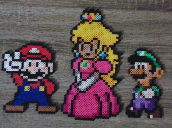 Super Mario Bros Mario Peach Luigi Sprites Perler Par