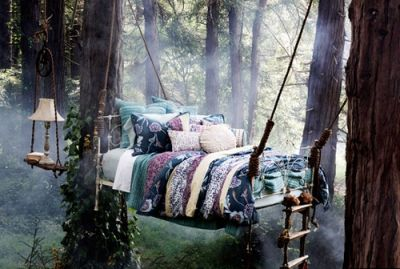 hanging bed in a magical forest <3 how i wish it was real ...