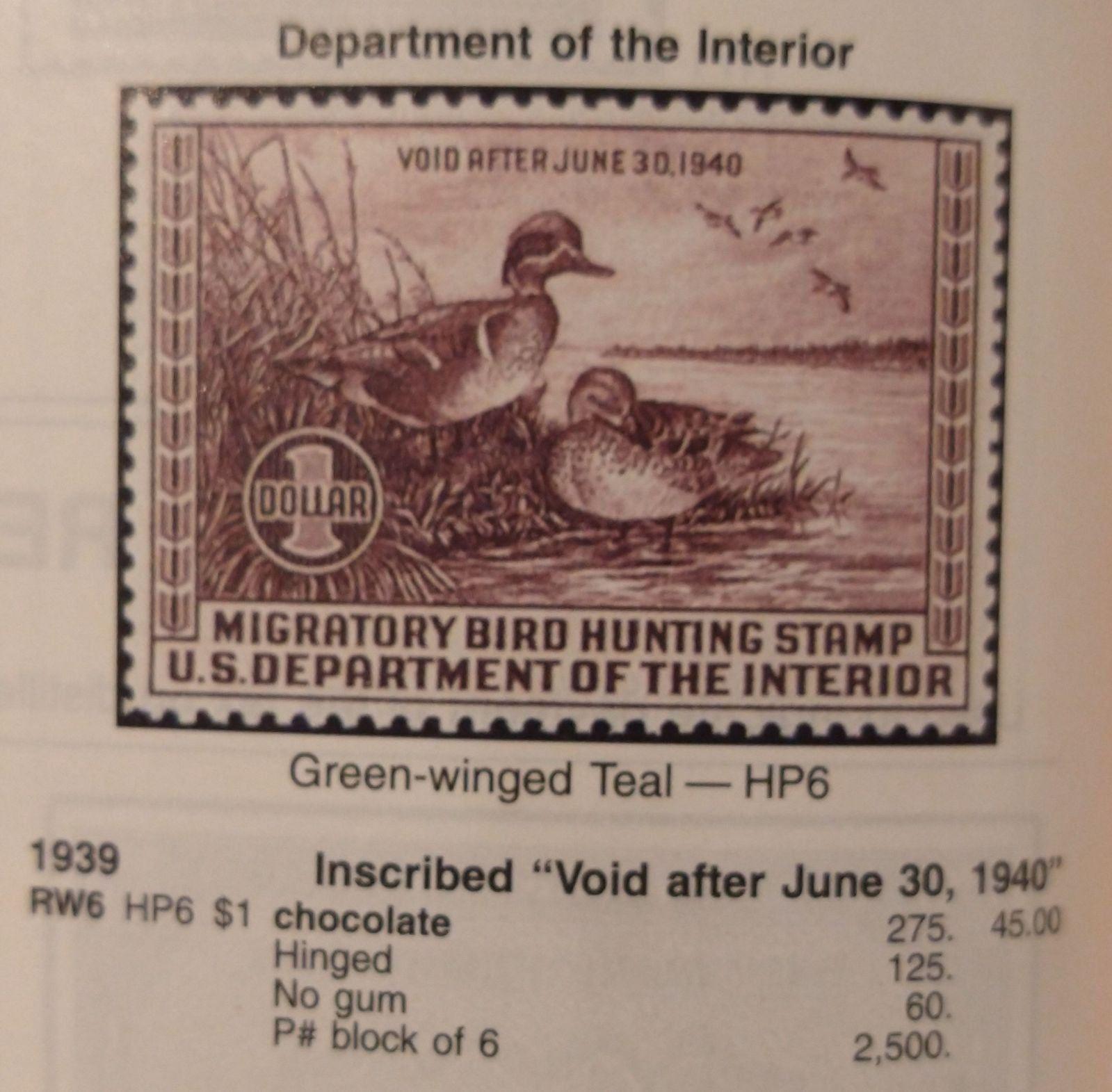 1940s duck stamp hunting license mercari bird