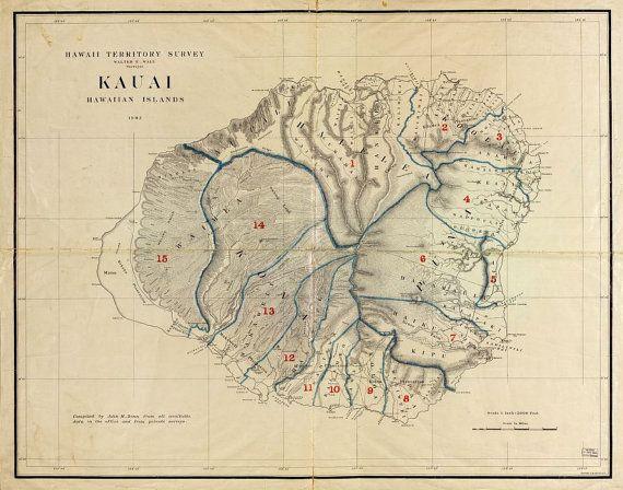 Kauai, Hawaii, Hawaiian Islands, c.1903, Survey Map, Island Photo - Beautiful Print=(Antique,Vintage,Old) =Map is Perfect for Framing!    High Quality