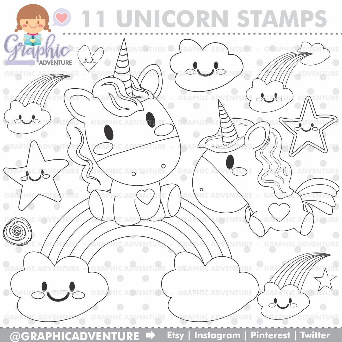 Unicorn Stamps Rainbow Stamps Fairy Tale Stamps