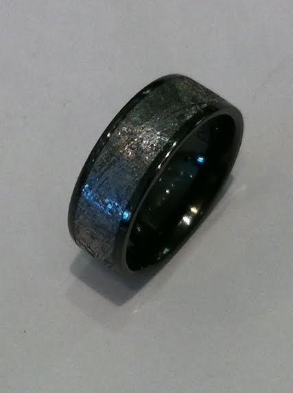 Gibeon Meteorite Ring 7mm Wide Lined In Black Zirconium Meteorite Wedding Rings Rings For Men Wedding Rings Unique