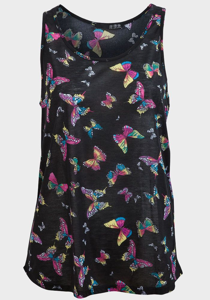 419cbba3d43e3f New Womens Atmosphere Primark Ladies Black Butterfly Print Tshirt Vest top