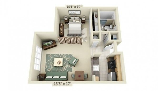 Studio Apartment Floor Plans Misc Pinterest Apartment floor