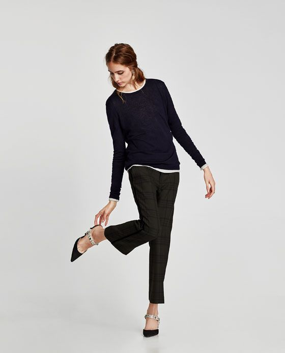 ZARA - WOMAN - FLARED TROUSERS WITH VELVET STRIPES ae6bb0df02c