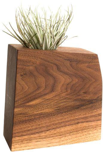 Unique planter, Modern Wood Air Plant or Succulent Planter