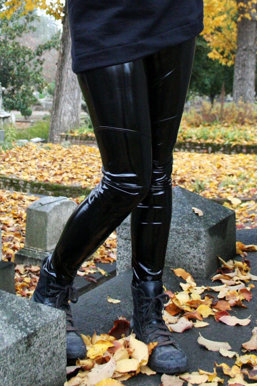 f1363ba7368 Black Stretch Vinyl Leggings handmade by Deranged Designs in size XS to  3XL. Plus size goth gothic clothing stretch pants vinyl spandex latex-look