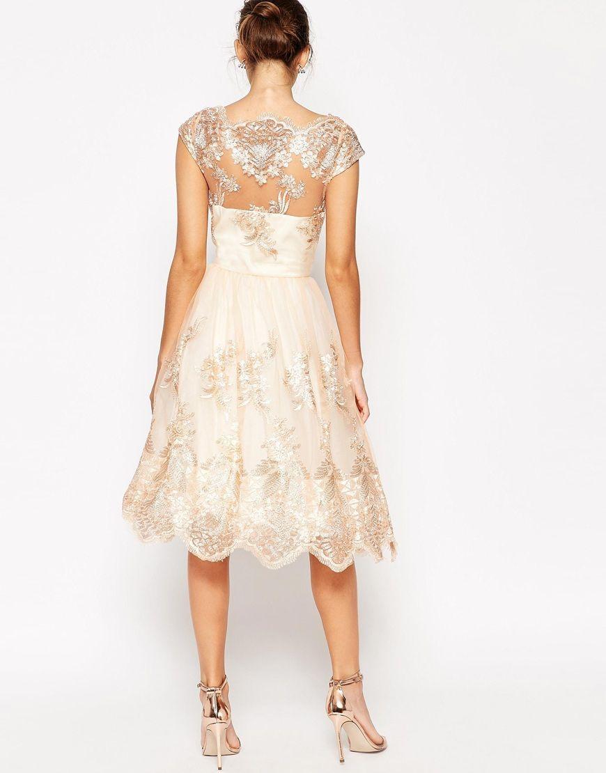 cb11f8a2f3ac LUXYOU Chi Chi London sukienka wieczorowa midi metaliczna koronka Vestir  Se