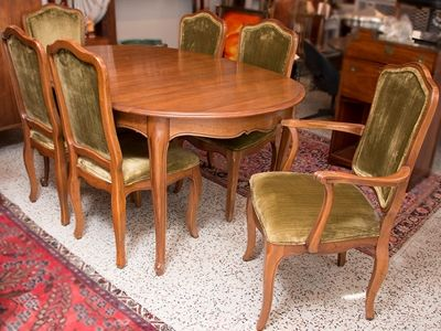 Vintage DAVIS CABINET COMPANY Walnut Dining Table With 6 Chairs