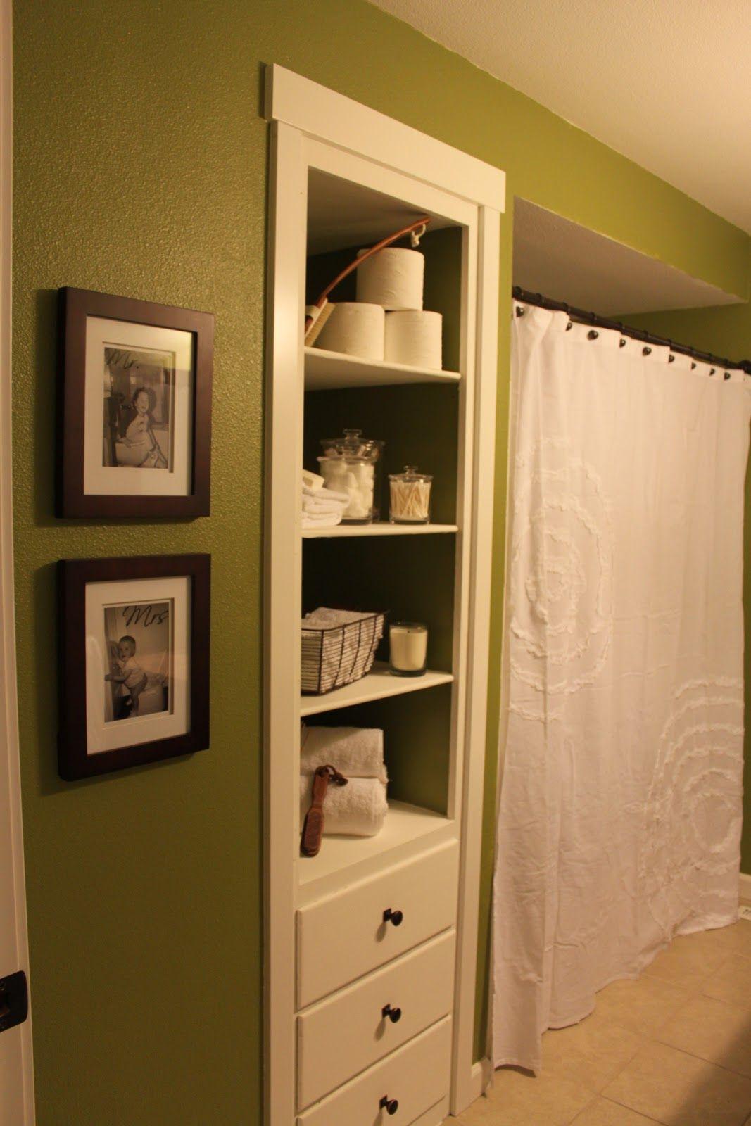 Behr grape leaves green and white bathroom. White shower curtain ...