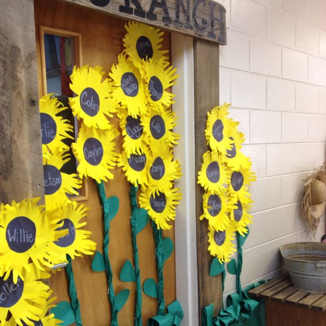 Our classroom door turned out cute preschool ideas for Farm door ideas