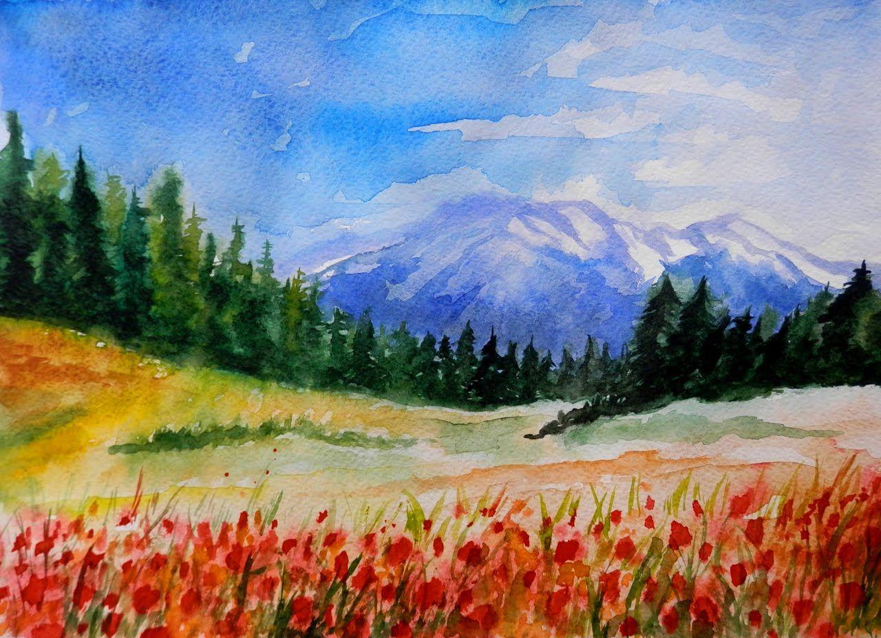 Как научиться рисовать: УРОК 2. Рисуем горный пейзаж (акварель ...