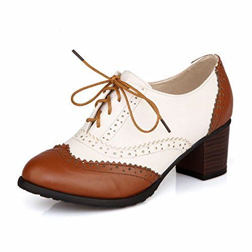 Women's Shoes Round Toe Chunky Heel Oxfords with Lace-up Shoes More Colors  available