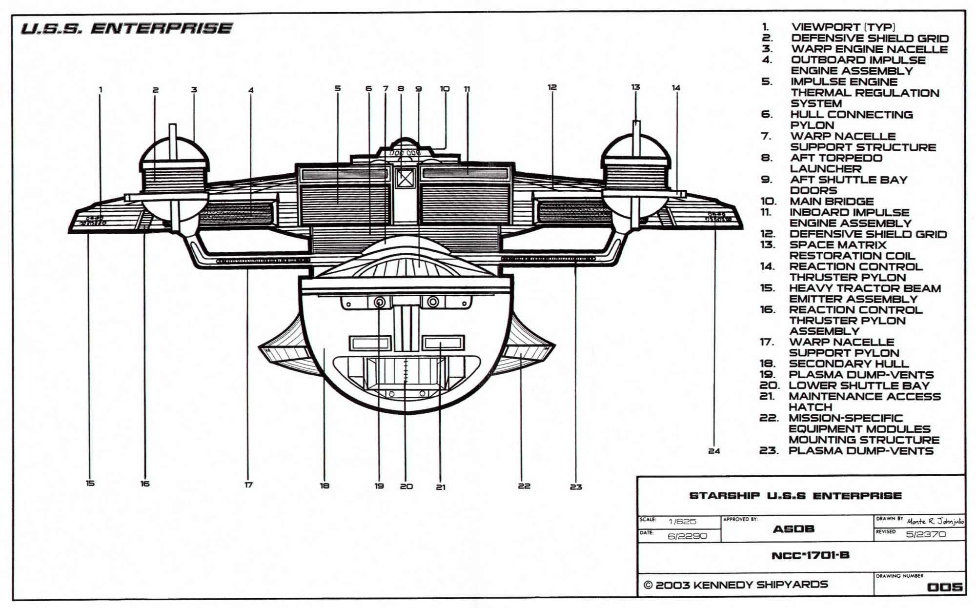 Schematic Of U S S Enterprise Ncc B
