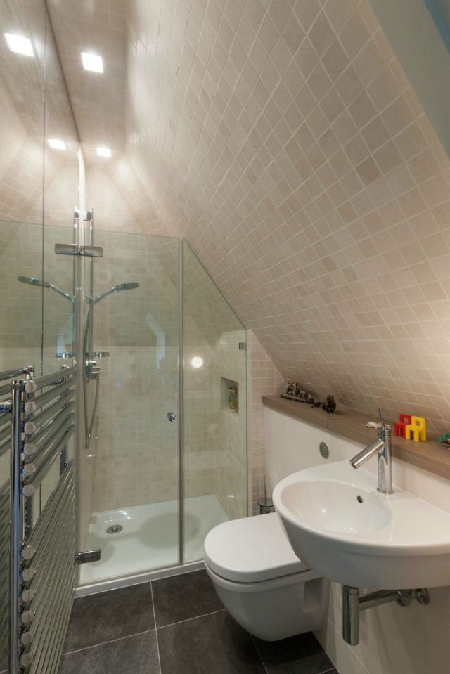 Attic Bathroom Ideas Sloped Ceiling Slanted Walls Tiled All The