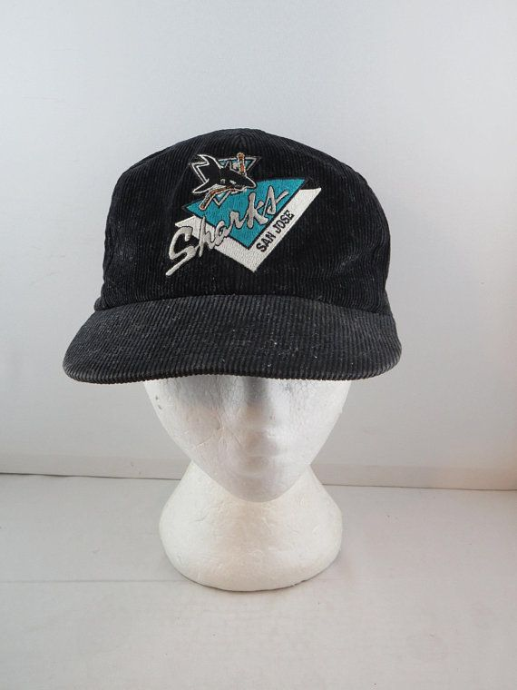 online store 77d14 8ab79 San Jose Sharks Hat (VTG) - Corduroy Classic by Krystal Caps - Adult  Snapback