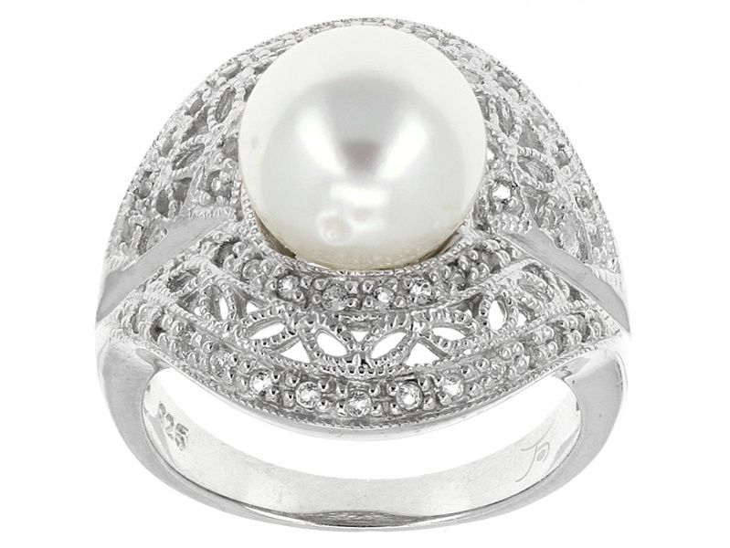 9mm Tahitian Cultured Pearl Ring w White Zircon