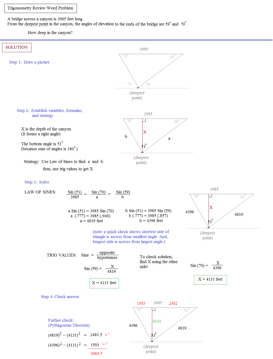 Right Triangle Trigonometry Solving Word Problems