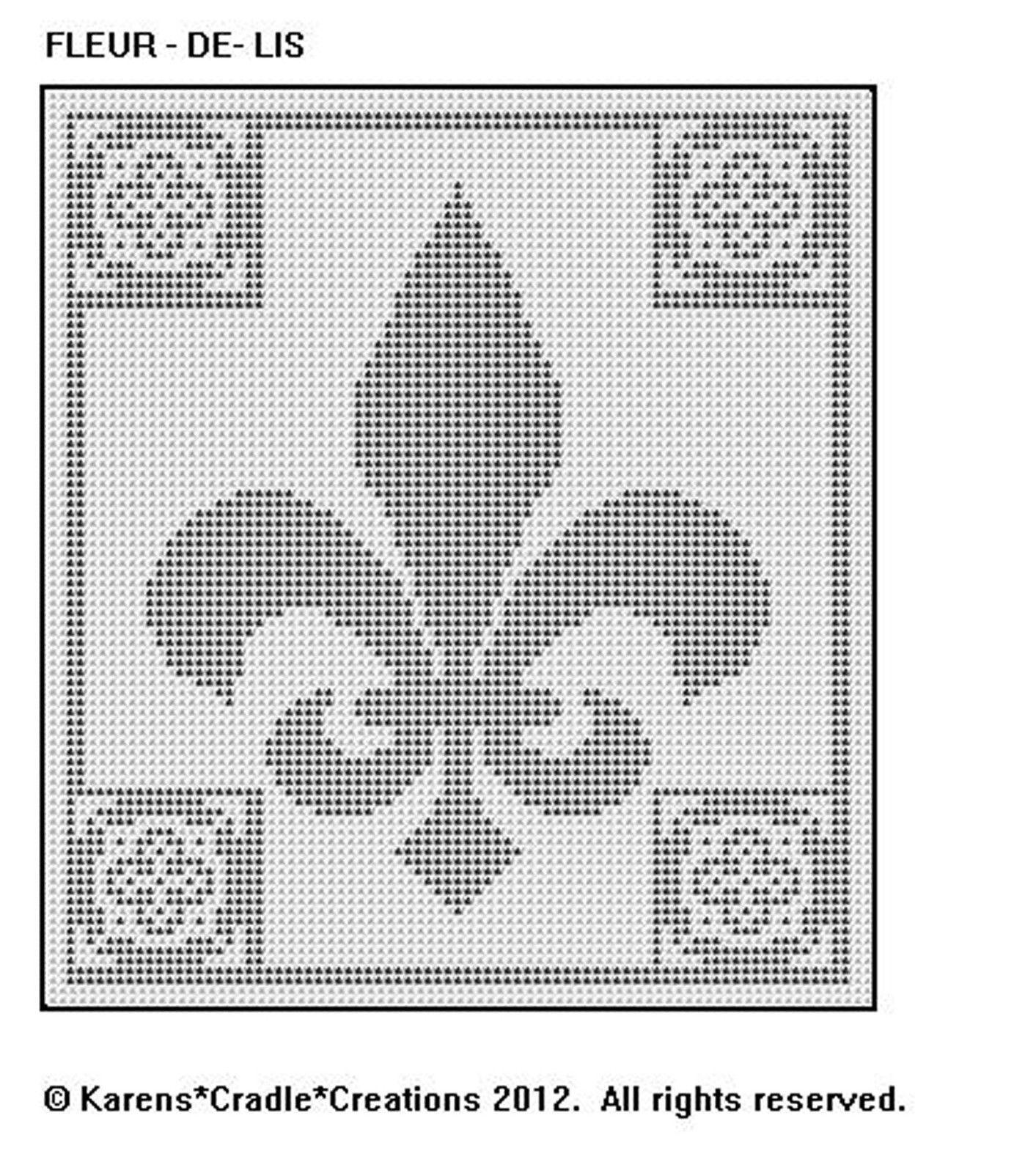 FLEUR - DE - LIS Filet Crochet Pattern   Häkeln vorlagen, Vorlagen ...