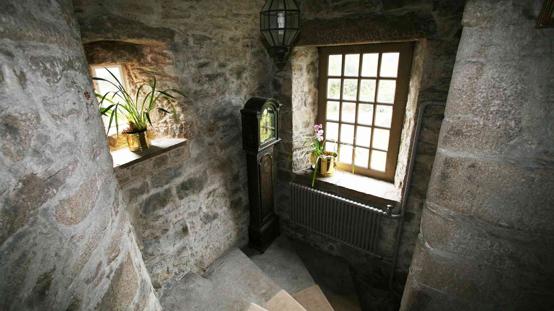 stone turnpike stairs in traditional fifteenth century castle near