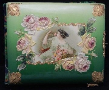 ANTIQUE LATE 1800'S VICTORIAN CELLULOID LADY ROSES PHOTO ALBUM
