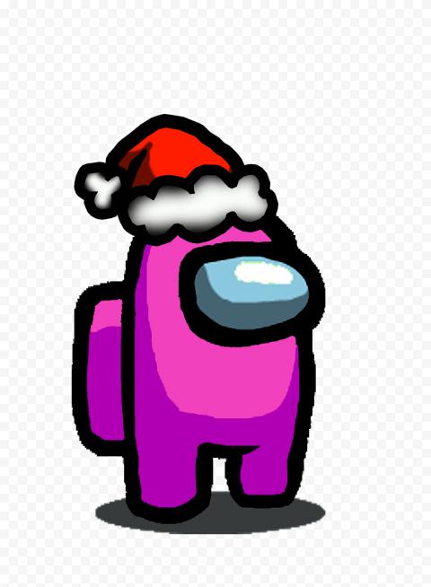 Hd Pink Among Us Character With Santa Hat Png Santa Hat Character Cyberpunk Style