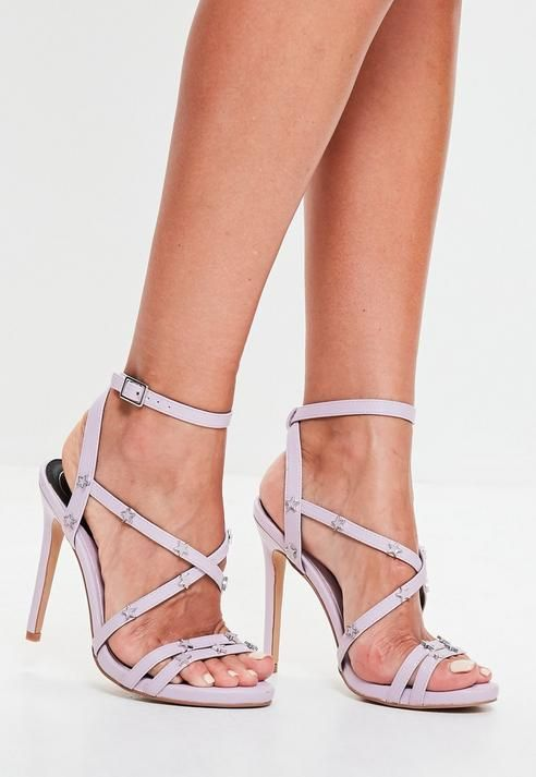713cb1d21dcc Missguided Lilac Star Studded Strappy Heeled Sandals