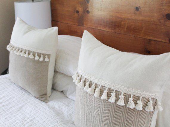 Tan and White Herringbone Tassel Pillow Cover by True Having – 20×20, Gold Tassel Fringe Pillow, Farmhouse Throw Pillow, Boho Pillow Cover