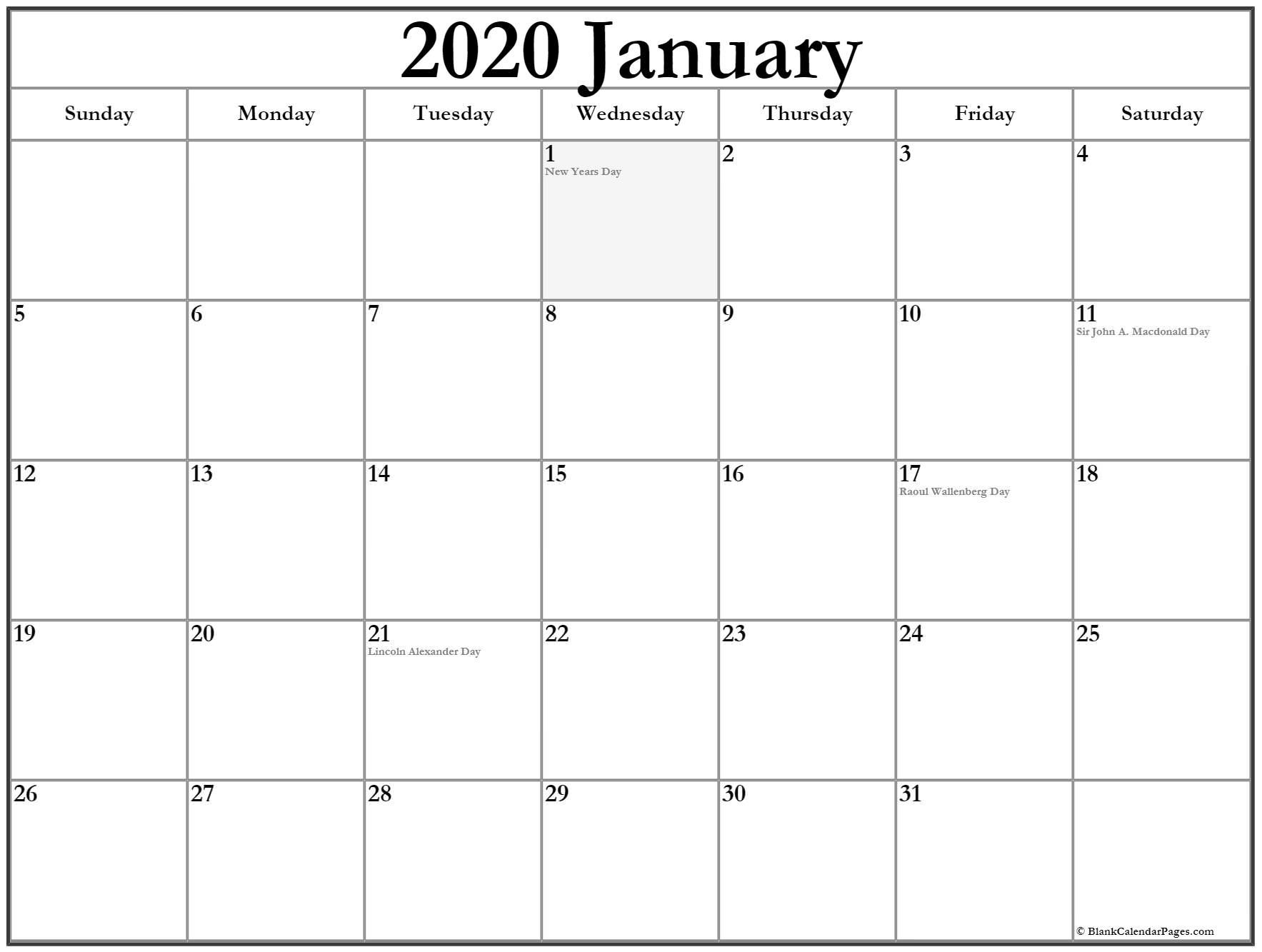 Monthly January 2020 Calendar Printable Template Canadian