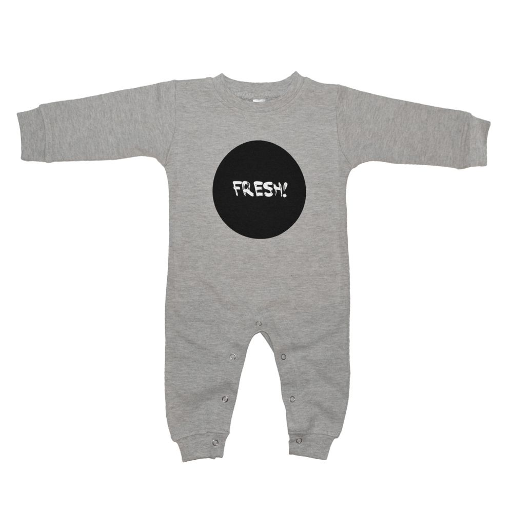 Our NEW 'Fresh' design on a gray heather romper. - 100% Ring spun combed cotton- A thicker fabric to keep your little ones warm during the colder seasons.- Printed with water based white and black ink.**Runs small! Please size up!