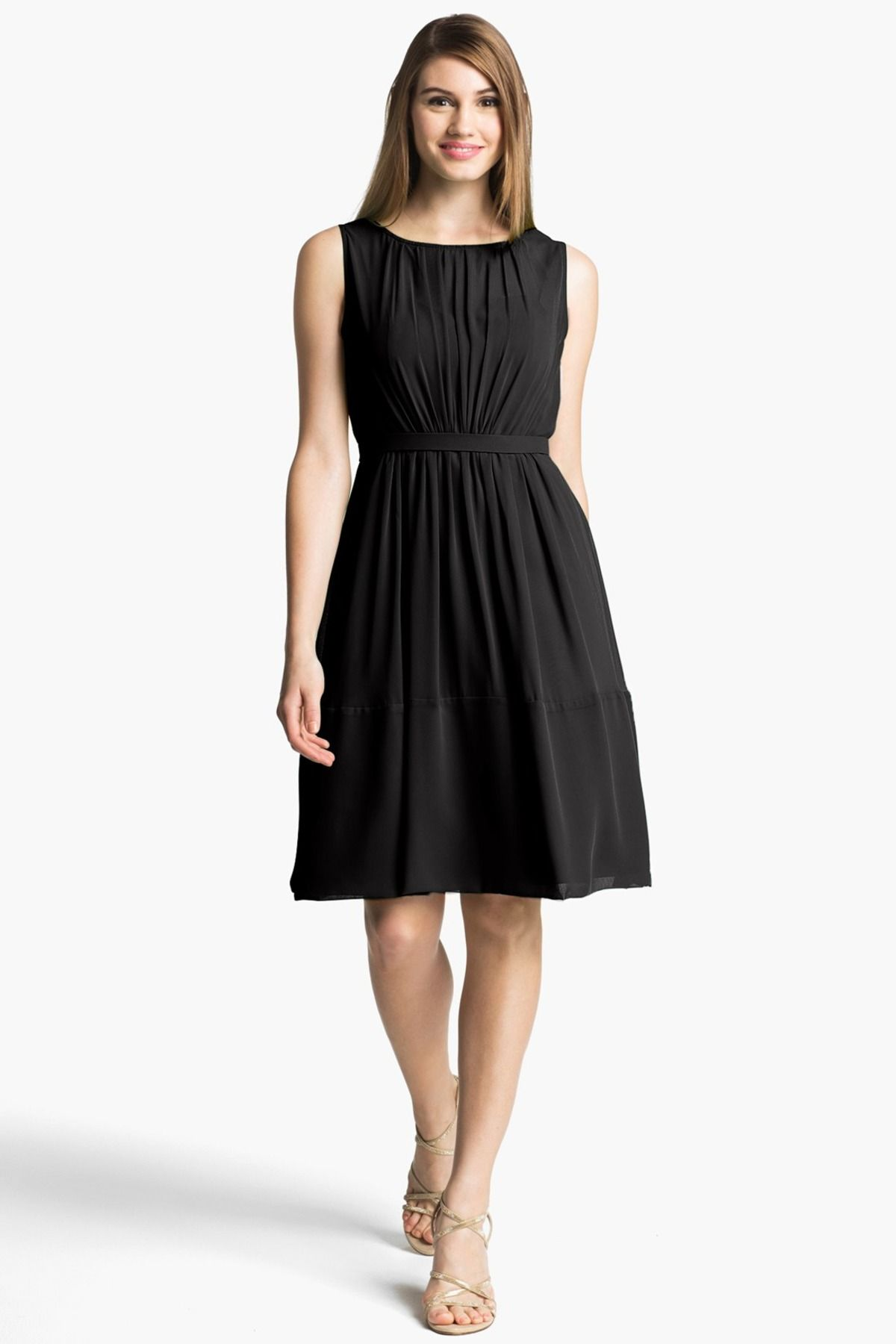 28990cd801 Pleat Chiffon A-Line Dress Asesoria