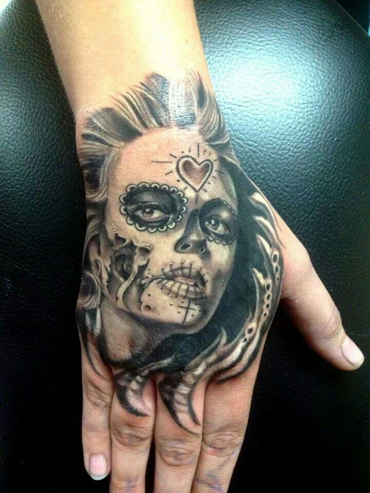 ead2e8e468396 AMAZING DAY OF THE DEAD ON HAND Exotic Tattoos, Dead Hand, Hand Tattoos,