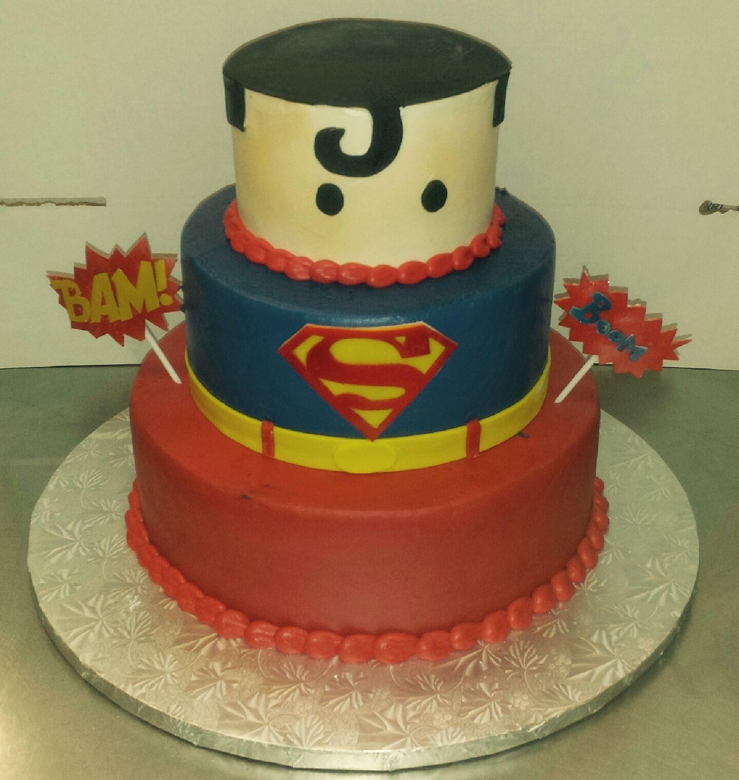Calumet Bakery Superman three tier cake  *requires delivery