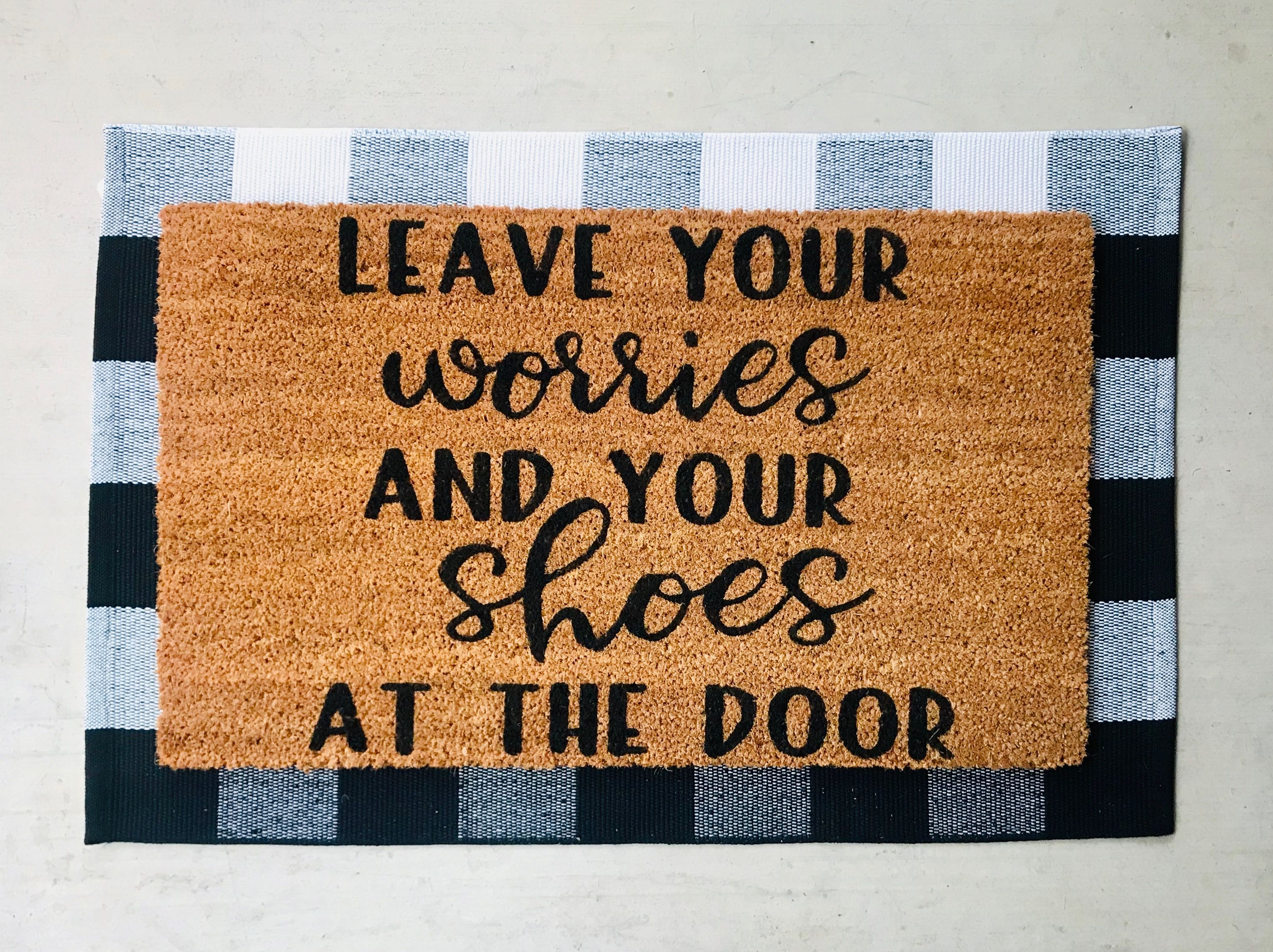 Leave Your Worries And Your Shoes At The Door Instructional Doormat Shoes Off No Shoes Immunocompromised Doormat Door Mat Personalized Door Mats Doors