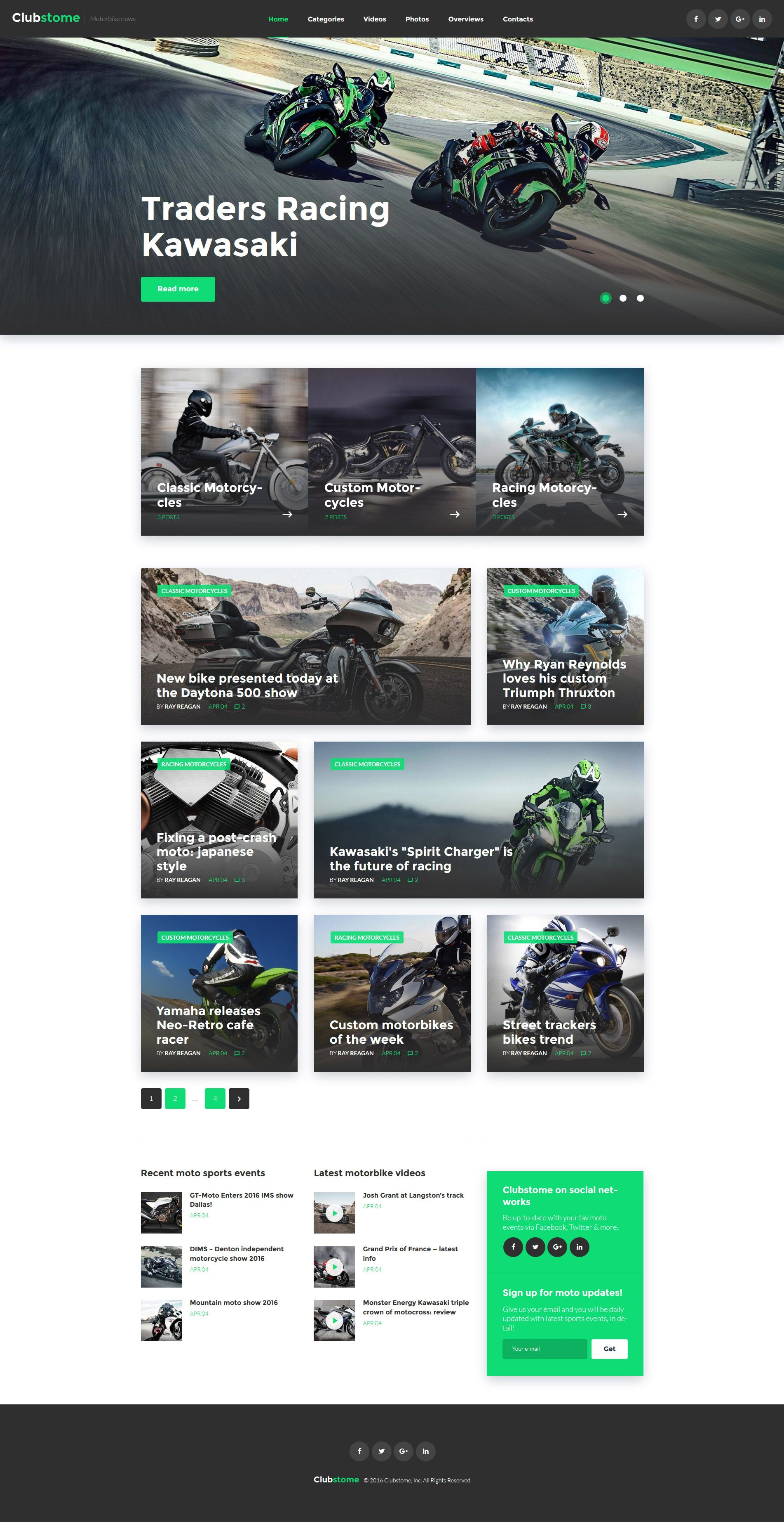 Clubstome Sport Racing Wordpress Theme Website Template Modern