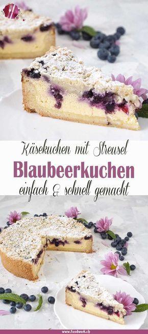 Bester Käsekuchen : Omas gebackene Quarktorte mit Blaubeeren und Streuseln #kuchenrezepte