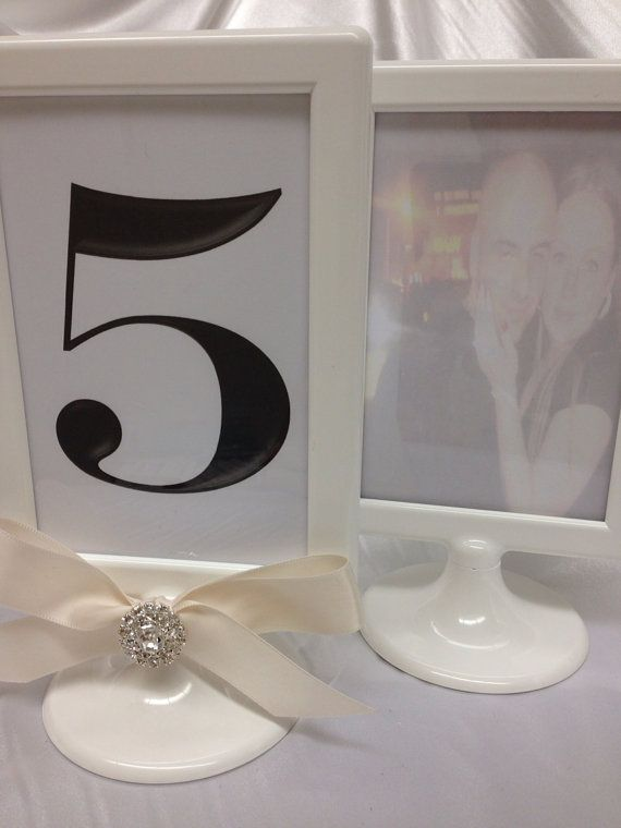 Set Of 10 White Pedestal Double Sided Wedding Frame 4x6 Table