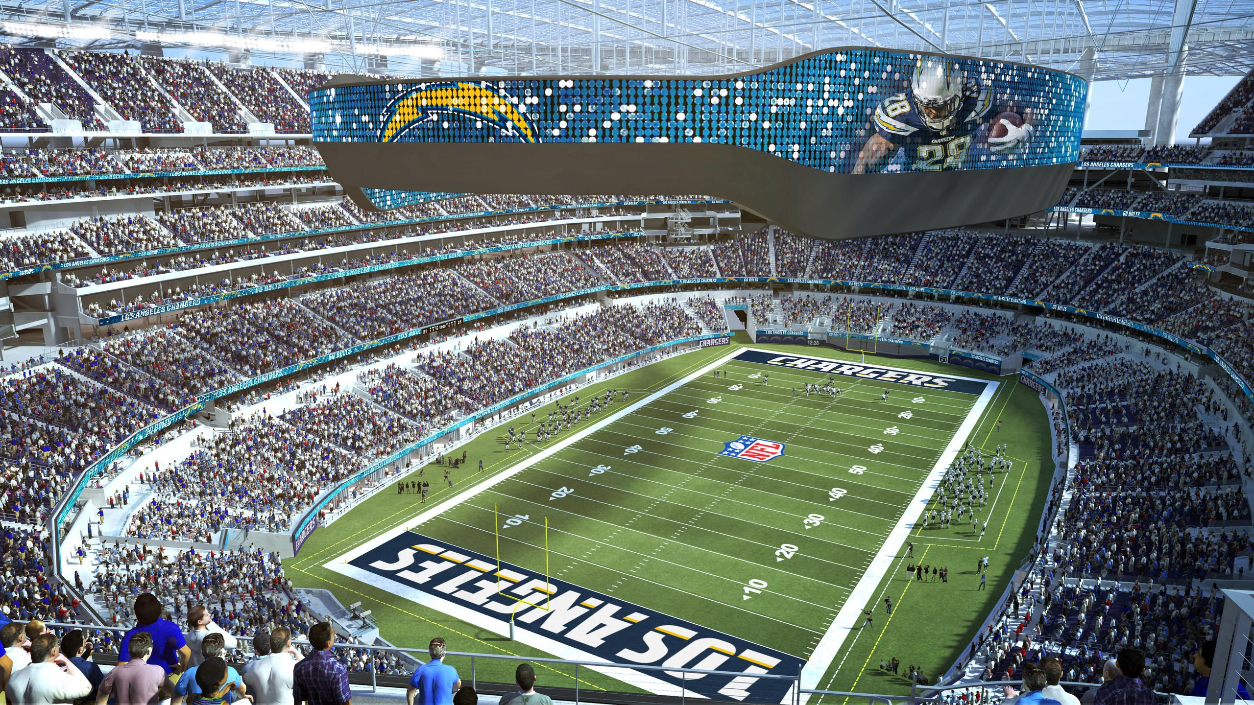The Latest Renderings Of The New Los Angeles Stadium And Entertainment District At Hollywood Park Lased Set To Debu Los Angeles Chargers Stadium Nfl Stadiums