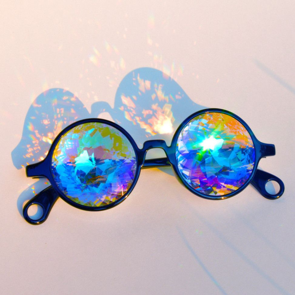 NEW UNUSED SteamPunk Cosplay Cat Eye Style Frame Rainbow Lens Goggles Glasses