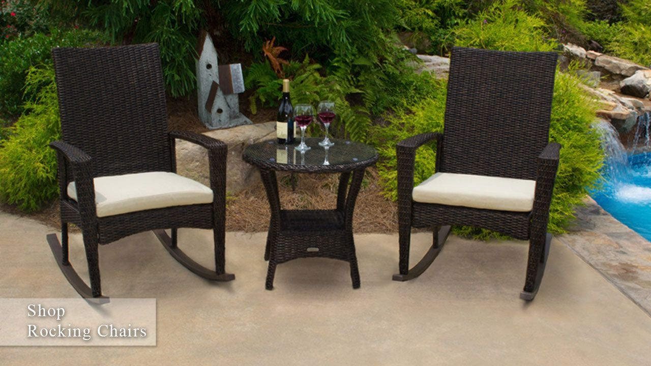 Good BAYVIEW Rocking Chair Set. Set Includes: 2 Wicker Rocking Chairs With  Matching Side Table. All Weather 1/2 Round Resin Wicker, Which Is Resistant  To Stains, ...