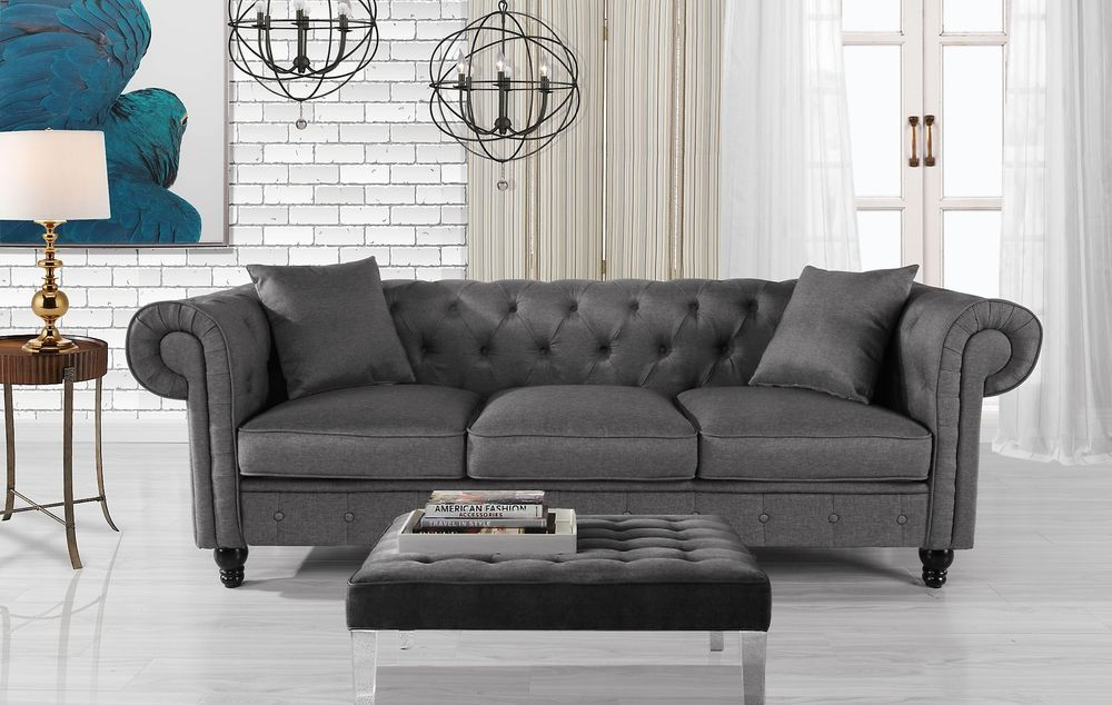 Classic Fabric Sofa Scroll Arm Tufted Button Chesterfield Couch Light Grey 662187612225 Ebay Futon Living Room Love Seat Furniture