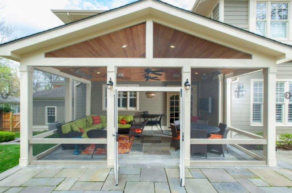 This Custom Craftsman Style Screened Room By Design Builders Uses Our Heaters To Keep The Space Both Comfo Screened In Patio Screened Porch Designs Porch Patio