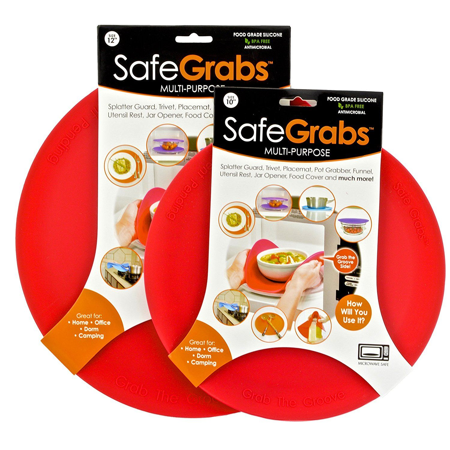 Amazonsmile Safe Grabs 2 Piece 8 In 1 Multipurpose Silicone Microwave 10 Inch And 12 Inch Splatter Guard Set Red Kitch Splatter Guard Food Covers Jar Opener